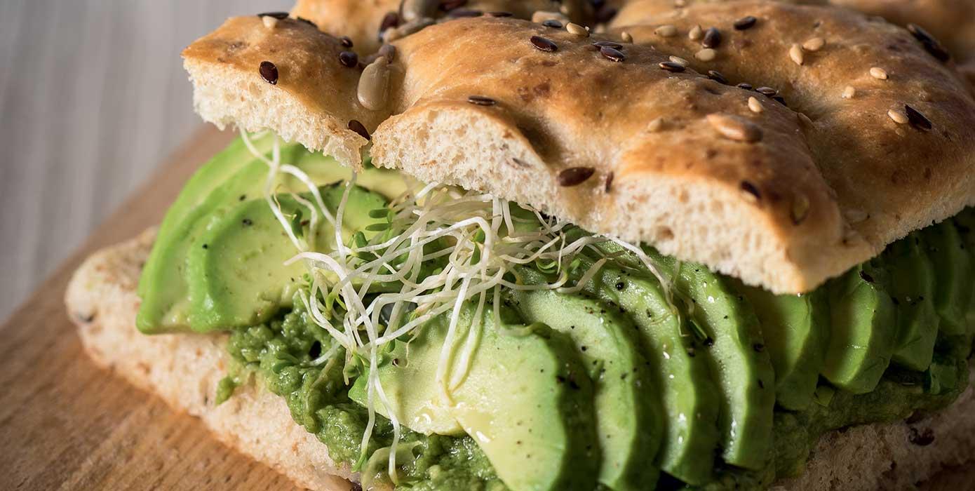 VEGAN WHOLE GRAIN BREAD FOCACCIA with guacamole and avocado sauce